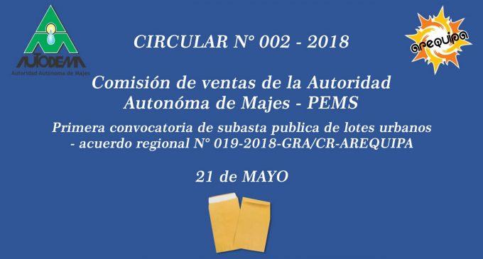 CIRCULAR N° 002 – 2018