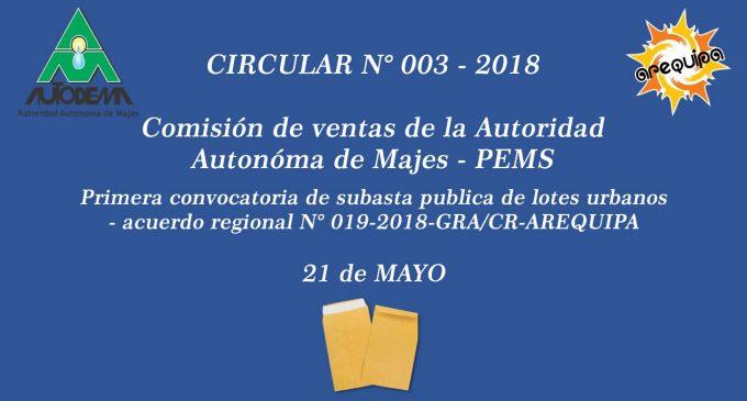 CIRCULAR N° 003 – 2018
