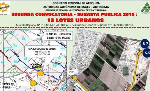 SEGUNDA CONVOCATORIA – SUBASTA PUBLICA  2018 : 13 LOTES URBANOS