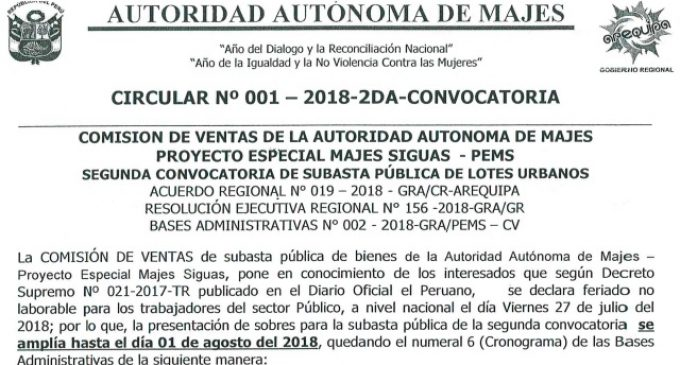 CIRCULAR N° 001-2018-2DA-CONVOCATORIA