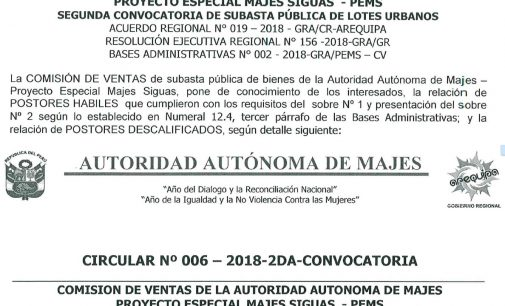 CIRCULAR N° 005-2018-2DA-CONVOCATORIA y CIRCULAR N° 006-2018-2DA-CONVOCATORIA