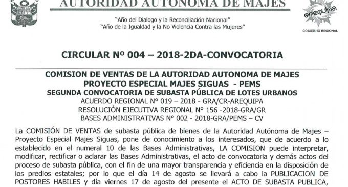 CIRCULAR N° 004-2018-2DA-CONVOCATORIA