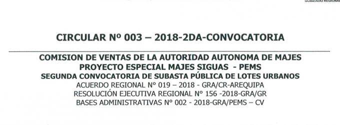 CIRCULAR N° 003-2018-2DA-CONVOCATORIA