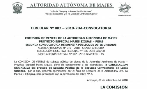 CIRCULAR N° 007-2018-2DA-CONVOCATORIA