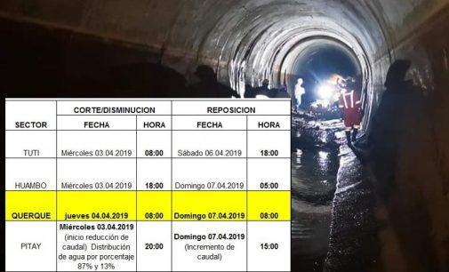 Este miércoles se reinician las obras de reparación del túnel terminal del sistema de aducción Colca Siguas