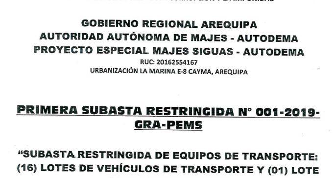 PRIMERA SUBASTA RESTRINGIDA N° 001-2019-GRA-PEMS