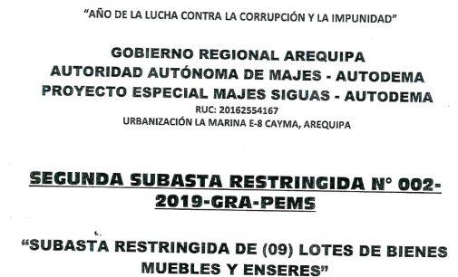 SEGUNDA SUBASTA RESTRINGIDA N° 002-2019-GRA-PEMS